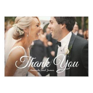 Stilvolle moderne Foto-Hochzeit danken Ihnen zu Karte