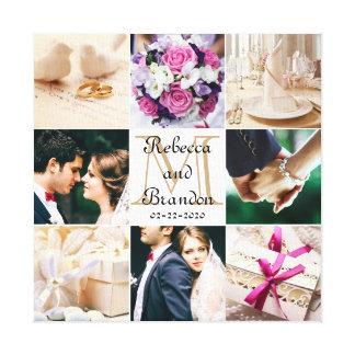 Stilvolle moderne Hochzeits-mit Monogramm Leinwanddruck