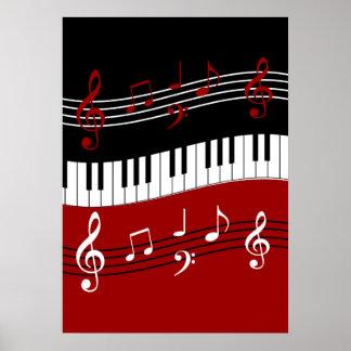 Stilvolle rote Schwarz-weiße Klavier-Schlüssel und Poster