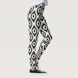Stilvolle schicke schwarze Elfenbein-Diamant Ikat Leggings