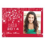 Stilvolle Schnüre hellroten Foto-Abschlusses 2014 Personalisierte Ankündigungskarten