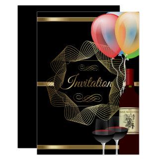 Stilvolle Schwarz-u. GoldParty-Ereignis-Einladung Karte