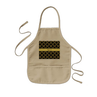 Stilvolle schwarze u. gelbe Quadrate Kinderschürze