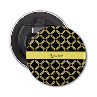 Stilvolle schwarze u. gelbe Quadrate Runder Flaschenöffner