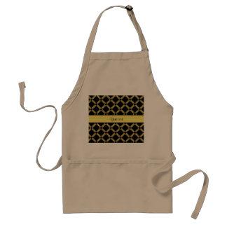 Stilvolle schwarze u. gelbe Quadrate Schürze
