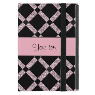 Stilvolle schwarze u. lila Glitter-Quadrate Schutzhülle Fürs iPad Mini