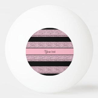 Stilvolle schwarze u. lila Glitter-Streifen Ping-Pong Ball