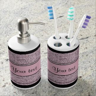 Stilvolle schwarze u. lila Glitter-Streifen Seifenspender & Zahnbürstenhalter