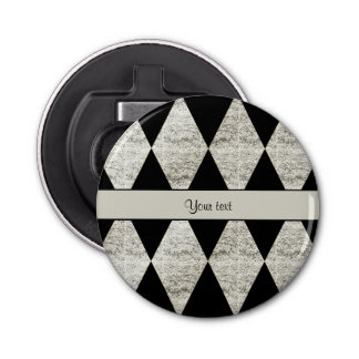 Stilvolle schwarze u. silberne Glitter-Diamanten Flaschenöffner