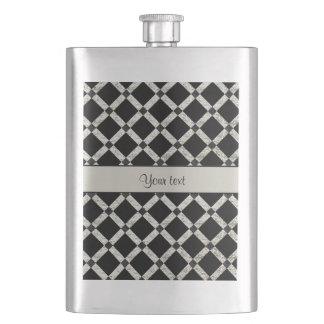 Stilvolle schwarze u. silberne Glitter-Quadrate Flachmann