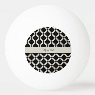 Stilvolle schwarze u. silberne Glitter-Quadrate Ping-Pong Ball