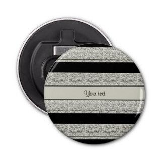 Stilvolle schwarze u. silberne Glitter-Streifen Runder Flaschenöffner