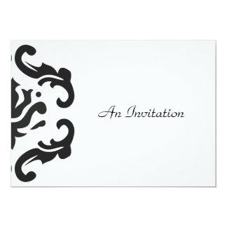 Stilvolle schwarze u. weiße 12,7 x 17,8 cm einladungskarte
