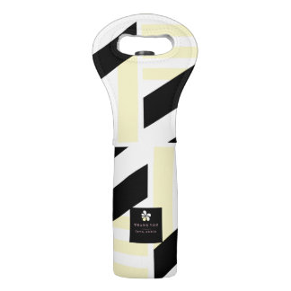 Stilvolle schwarze und gelbe Streifen Weintasche