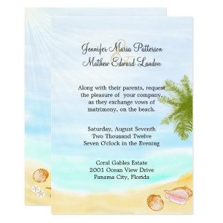 Stilvolle tropische Strand-Hochzeits-Einladung Karte