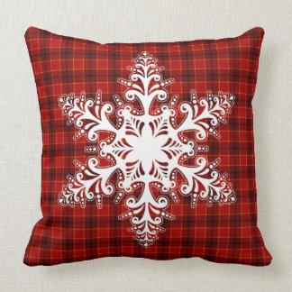 Stilvolle weiße Schneeflocke-klassisches Kissen