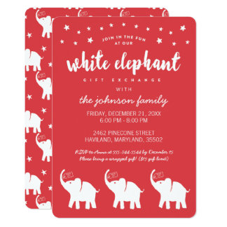 Stilvolle weißer Elefant-Feiertags-Party Karte