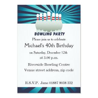 Stilvolle zehn Button-Bowlings-Geburtstags-Party 12,7 X 17,8 Cm Einladungskarte