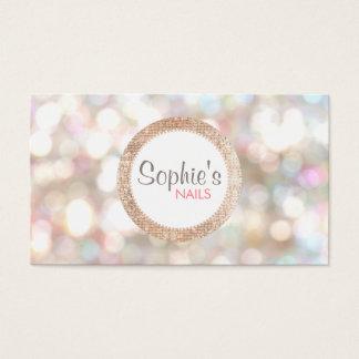 Stilvoller Bokeh und Rosen-Goldsequin-Nagel-Salon Visitenkarten