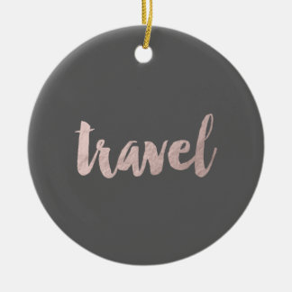 "stilvoller eleganter Imitat-Rosen-Goldtext ""Reise Keramik Ornament"