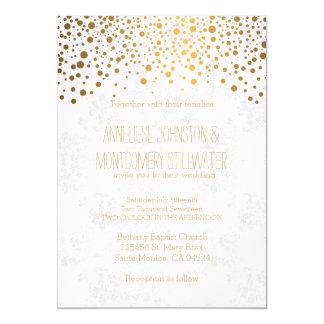 Stilvoller GoldConfetti punktiert Hochzeits-Thema 12,7 X 17,8 Cm Einladungskarte