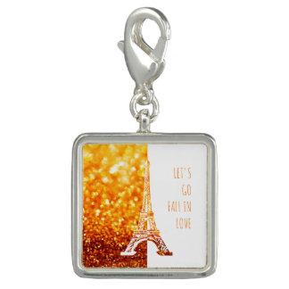 Stilvoller goldener Glitter Liebe-Paris | Charm