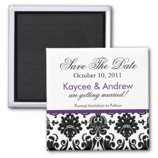 Stilvoller lila Damast-Save the Date Magnet Quadratischer Magnet