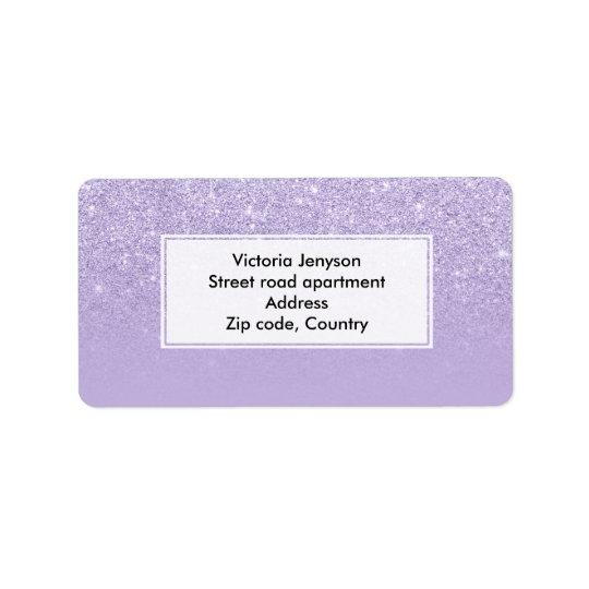 Stilvoller lila Lavendel-Glitter ombre Farbblock Adressetiketten