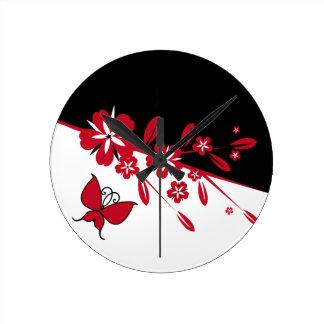 Stilvoller moderner Schwarz-weißer roter Runde Wanduhr