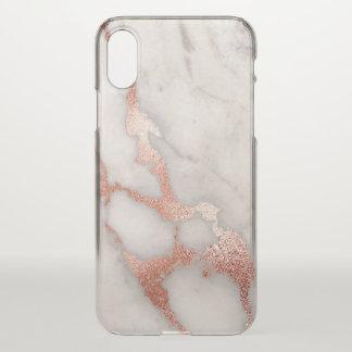 Stilvoller Rosen-GoldGlitzer-Marmor iPhone X Hülle
