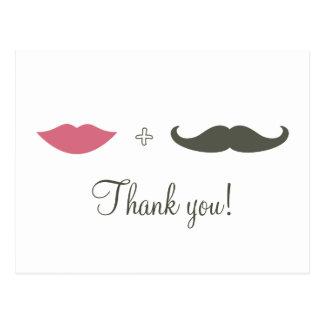 Stilvoller Schnurrbart und Lippen danken Ihnen Postkarten