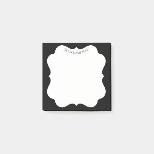 Stilvoller schwarzer Rahmen mit Ihrem Namen Post-it Klebezettel