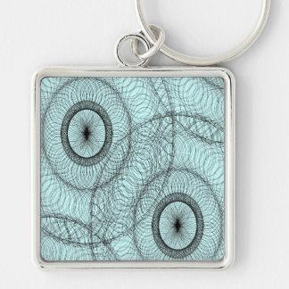 Stilvoller SpirographWirbles Zen-Gekritzel-Muster Silberfarbener Quadratischer Schlüsselanhänger