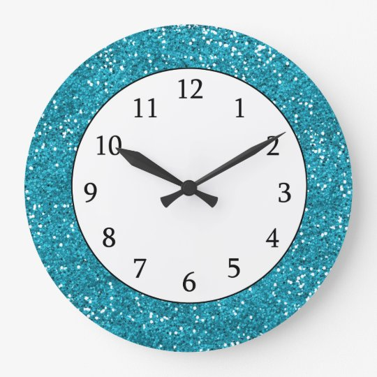 Stilvoller Turkis Blau Glitter Grosse Wanduhr Zazzle