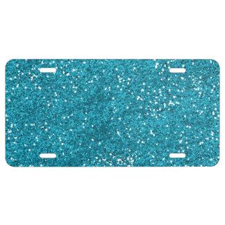 Stilvoller Türkis-Blau-Glitter US Nummernschild