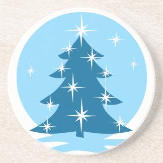 Stilvoller WeihnachtsUntersetzer-blaues Weihnachts Getränkeuntersetzer