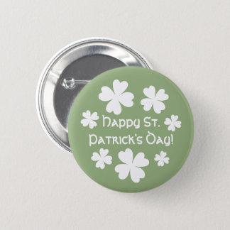 Stilvoller weißer Tag Kleeblätter St. Patricks Runder Button 5,1 Cm