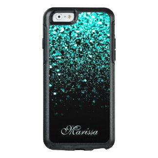 Stilvolles Aqua-blaues Glitzer-Schwarzes OtterBox iPhone 6/6s Hülle