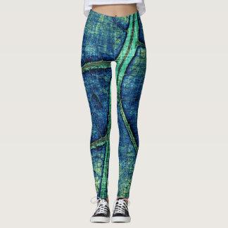 Stilvolles blaues Blatt Leggings
