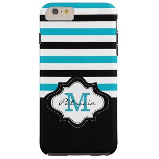 Stilvolles blaues Schwarz-weißes Tough iPhone 6 Plus Hülle
