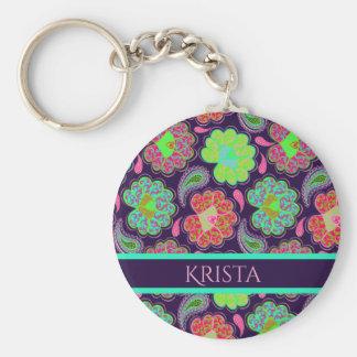 Stilvolles buntes Paisley mit personalisiertem Schlüsselanhänger
