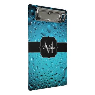 Stilvolles cooles blaues Wasser lässt Monogramm Mini Klemmbrett