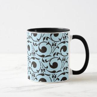 Stilvolles Damast-blaues Schwarz-Wirbels-Muster Tasse