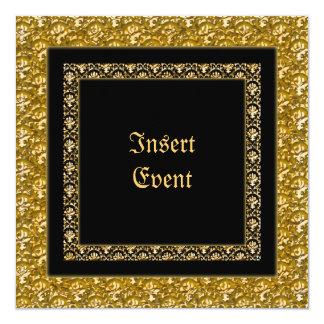 Stilvolles Damastschwarz-GoldParty Quadratische 13,3 Cm Einladungskarte