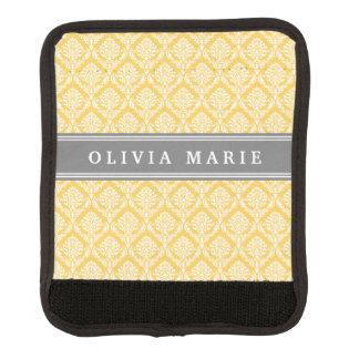 Stilvolles gelbes Damast-Muster mit grauem Namen Koffergriffwickel
