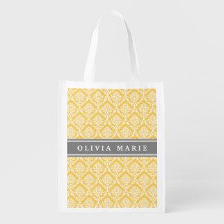 Stilvolles gelbes Damast-Muster mit grauem Namen Wiederverwendbare Einkaufstasche