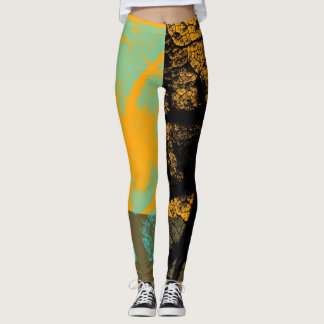 Stilvolles gelbes schwarzes tadelloses Blatt Leggings