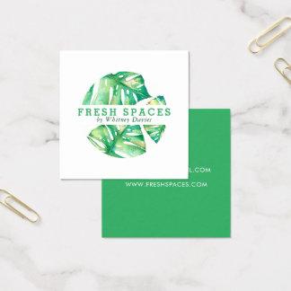 Stilvolles Gesundheitsgrün des MODERNEN MONSTERA Quadratische Visitenkarte
