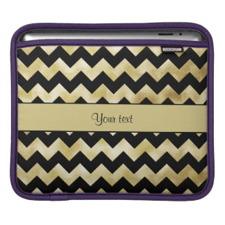 Stilvolles Gold u. schwarze Zickzacke iPad Sleeve