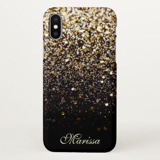 Stilvolles GoldGlitzerchic-Schwarzes gut schön iPhone X Hülle